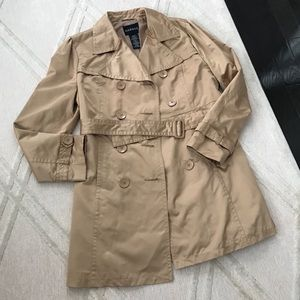 Belted Double Breast Trench Coat, Golden Tan Sheen